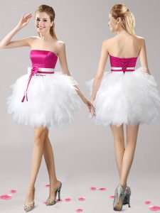 Classical Pink And White Cocktail Dress Prom and Party with Ruffles and Bowknot Strapless Sleeveless Lace Up