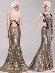 Superior Mermaid Brown Prom with Appliques and Sequins Square Sleeveless Brush Train Clasp Handle