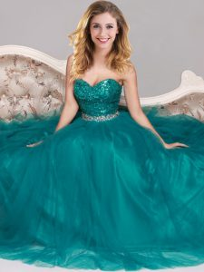 Extravagant Peacock Green Evening Dress Prom with Sequins Sweetheart Sleeveless Zipper