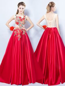 A-line Prom Dresses Red Scoop Elastic Woven Satin Sleeveless Floor Length Lace Up