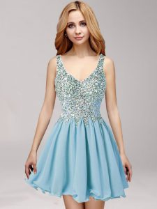 Elegant Straps Light Blue Sleeveless Beading and Ruching Mini Length Prom Evening Gown