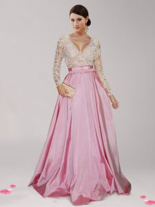 Colorful Taffeta Long Sleeves Floor Length Evening Dress and Beading and Belt