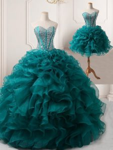 Elegant Floor Length Ball Gowns Sleeveless Peacock Green Prom Dresses Lace Up