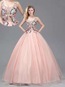 Straps Criss Cross See Through Tulle Sleeveless Floor Length 15 Quinceanera Dress and Appliques