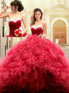 Glittering Red Tulle Lace Up Sweet 16 Dresses Sleeveless Floor Length Beading and Ruffles