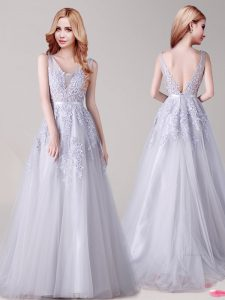 Best Selling Sleeveless Floor Length Appliques and Belt Backless Prom Evening Gown with Silver
