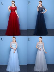 Super Wine Red Empire Scoop Short Sleeves Tulle Floor Length Lace Up Beading Prom Dresses