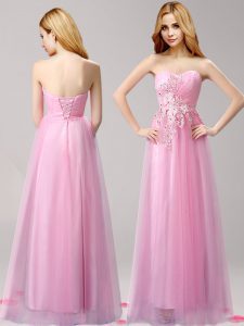 Decent Rose Pink Empire Beading and Appliques Evening Wear Lace Up Tulle Sleeveless Floor Length