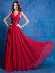 V-neck Sleeveless Backless Evening Dress Red Chiffon