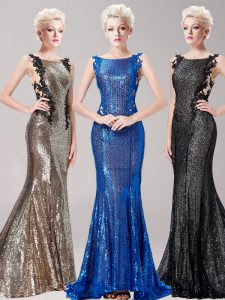 Mermaid Brown Homecoming Dress Prom with Appliques and Sequins Square Sleeveless Brush Train Clasp Handle