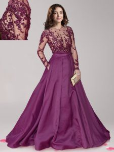 Cheap Dark Purple A-line Taffeta Scoop Long Sleeves Beading With Train Zipper Homecoming Dresses Brush Train