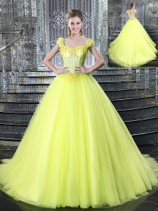 Straps Sleeveless Tulle Ball Gown Prom Dress Beading and Appliques Brush Train Lace Up