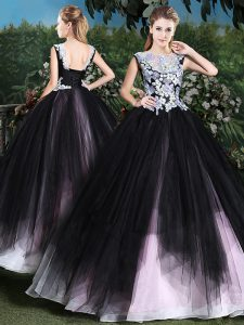 Pink And Black Tulle Lace Up Scoop Sleeveless Floor Length Vestidos de Quinceanera Appliques and Ruffles