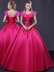 Hot Pink Ball Gowns V-neck Cap Sleeves Satin Floor Length Lace Up Appliques 15 Quinceanera Dress