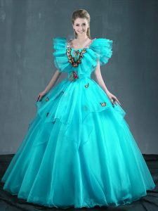 Aqua Blue Organza Lace Up Quince Ball Gowns Sleeveless Floor Length Embroidery