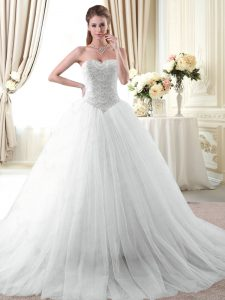 Inexpensive Sweetheart Sleeveless Brush Train Lace Up 15 Quinceanera Dress White Tulle