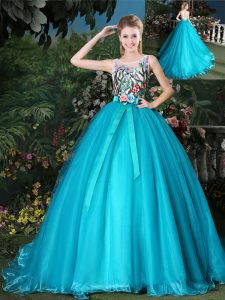 Scoop Organza Sleeveless 15 Quinceanera Dress Brush Train and Appliques and Belt