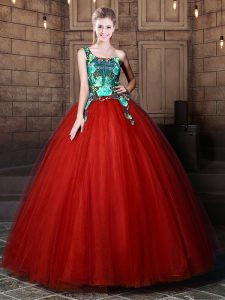 Customized One Shoulder Rust Red Lace Up Quince Ball Gowns Pattern Sleeveless Floor Length