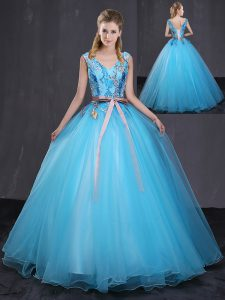 Most Popular Floor Length Blue Quince Ball Gowns Tulle Sleeveless Appliques and Belt