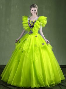 Yellow Green Organza Lace Up Quinceanera Dress Sleeveless Floor Length Appliques and Ruffles