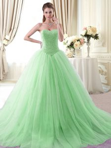 Custom Fit Apple Green Sweetheart Neckline Beading 15 Quinceanera Dress Sleeveless Lace Up