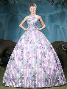 Straps Sleeveless Floor Length Appliques and Pattern Lace Up Quinceanera Dress with Multi-color