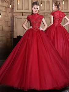 Luxury Wine Red Sweet 16 Dress Military Ball and Sweet 16 and Quinceanera with Appliques High-neck Short Sleeves Zipper
