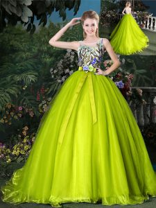Organza Scoop Sleeveless Court Train Lace Up Beading and Appliques and Belt Sweet 16 Dresses in Yellow Green
