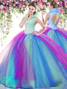 Traditional Floor Length Backless Sweet 16 Dresses Multi-color for Military Ball and Sweet 16 and Quinceanera with Beading