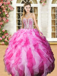 Best Selling Pink And White Ball Gowns Organza Sweetheart Sleeveless Beading and Ruffles Floor Length Lace Up 15th Birthday Dress