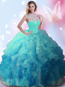Noble High-neck Sleeveless 15 Quinceanera Dress Floor Length Beading Multi-color Tulle
