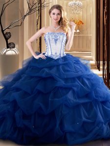 Ruffled Floor Length Ball Gowns Sleeveless Royal Blue Sweet 16 Dress Lace Up