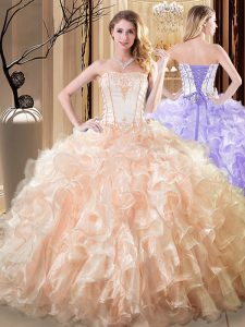 Fantastic Yellow Strapless Neckline Embroidery and Ruffles Vestidos de Quinceanera Sleeveless Lace Up