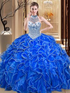 Halter Top Sleeveless Floor Length Beading and Ruffles Lace Up 15th Birthday Dress with Royal Blue