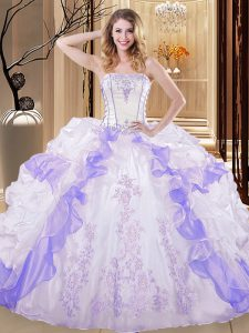 Elegant White And Purple 15 Quinceanera Dress Military Ball and Sweet 16 and Quinceanera with Embroidery and Ruffled Layers Strapless Sleeveless Lace Up