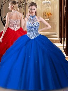 Wonderful Halter Top Royal Blue Lace Up Quinceanera Gowns Beading and Pick Ups Sleeveless With Brush Train