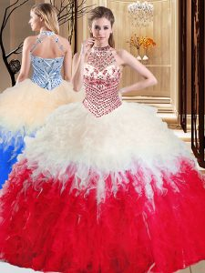 Halter Top Floor Length Lace Up Quinceanera Gowns White And Red for Military Ball and Sweet 16 and Quinceanera with Beading and Ruffles