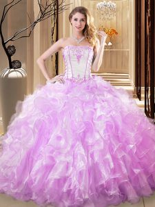 Free and Easy Lilac 15 Quinceanera Dress Military Ball and Sweet 16 and Quinceanera with Embroidery and Ruffles Strapless Sleeveless Lace Up