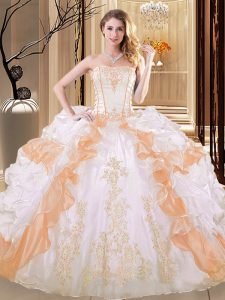 White and Yellow Ball Gowns Strapless Sleeveless Organza Floor Length Lace Up Embroidery and Ruffled Layers 15 Quinceanera Dress