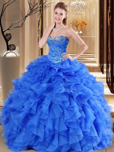 Royal Blue Tulle Lace Up Sweetheart Sleeveless Floor Length Sweet 16 Dress Beading and Ruffles