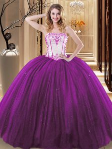 White And Purple Ball Gowns Strapless Sleeveless Tulle and Sequined Floor Length Lace Up Embroidery Vestidos de Quinceanera