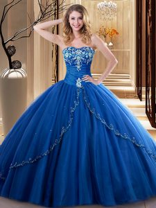Perfect Tulle Sweetheart Sleeveless Lace Up Embroidery Ball Gown Prom Dress in Royal Blue