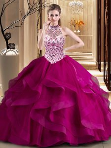 Sophisticated Tulle Halter Top Sleeveless Brush Train Lace Up Beading and Ruffles Ball Gown Prom Dress in Fuchsia
