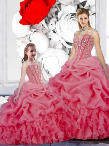 Flirting Straps Organza Sleeveless Floor Length Vestidos de Quinceanera and Beading and Ruffles and Pick Ups