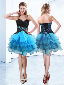 On Sale Sweetheart Sleeveless Cocktail Dresses Mini Length Ruffled Layers Blue And Black Organza
