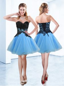 Mini Length Lace Up Club Wear Blue And Black for Prom and Party with Appliques