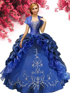 Royal Blue Sleeveless Beading and Embroidery Floor Length 15th Birthday Dress