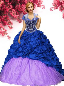 Fitting Royal Blue Lace Up Quinceanera Dresses Beading and Pick Ups Sleeveless Brush Train