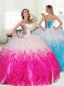 Affordable Beading and Ruffles Sweet 16 Dress Pink And White Lace Up Sleeveless Floor Length