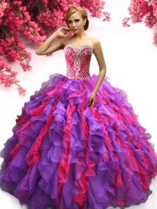 Free and Easy Sleeveless Floor Length Ruffles Lace Up Quince Ball Gowns with Multi-color